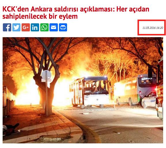 13 Mart Ankara saldırısından sonra KCK'nın yaptığı açıklamaymış gibi yayılan bu haber, aslında patlamadan iki gün önce BirGün'ün websitesinde yer almış ve 17 Şubat patlaması hakkındaydı.