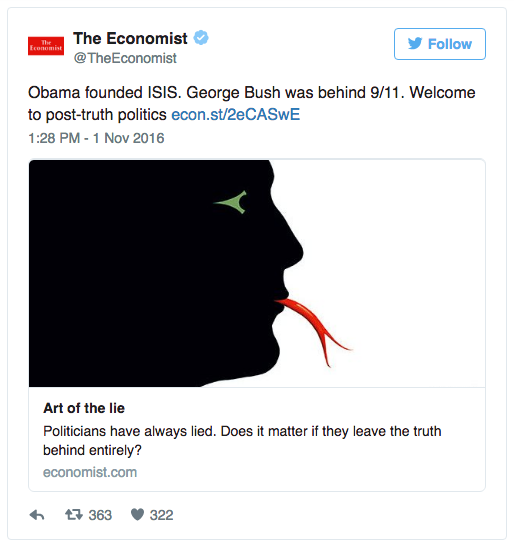 The Economist'in post-truth tweet'i.